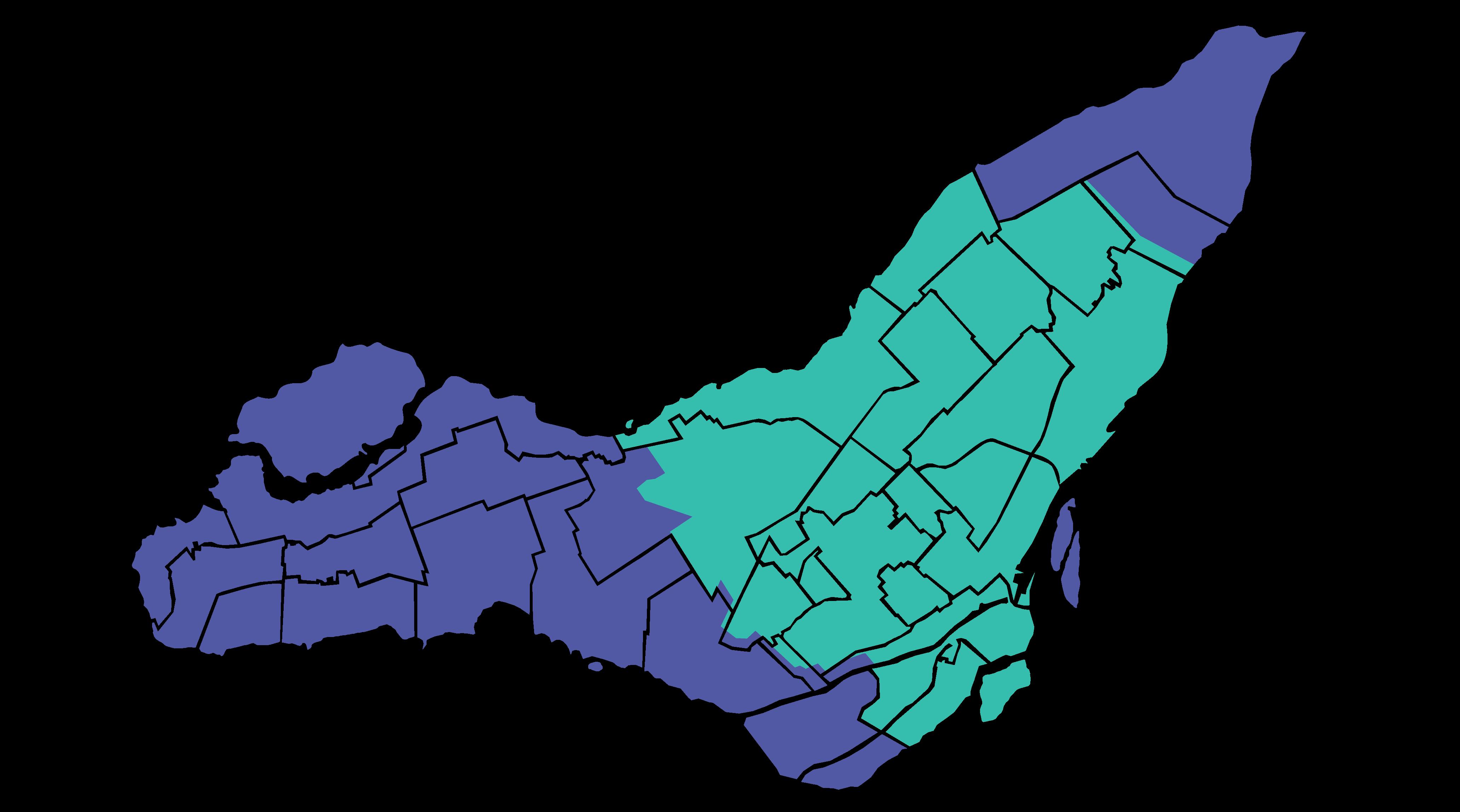 Carte des zones desservies à Montéal