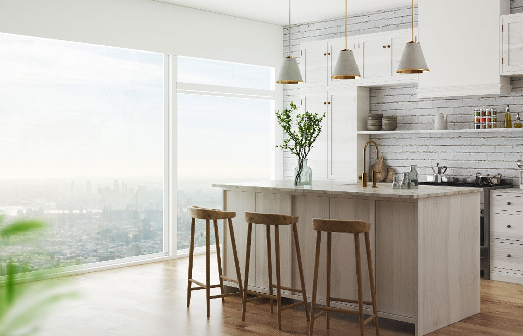 Clean condo kitchen with plants white and modern